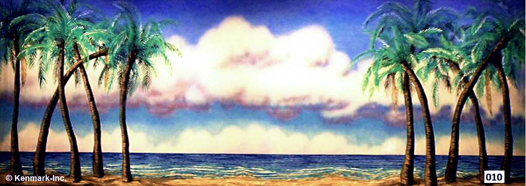 1512 Beach Scene with Palm Trees