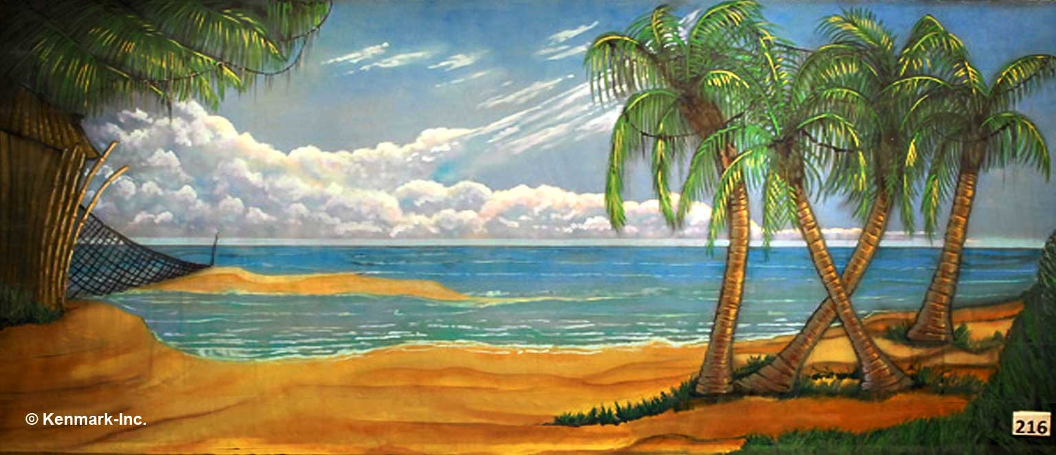 249 Beach Scene with Palm Trees